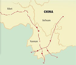 routes commerciales thé Asie Chine Tibet Yunnan